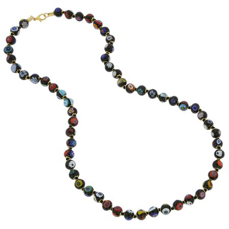 GlassOfVenice Murano Glass Mosaic Long Necklace - Black