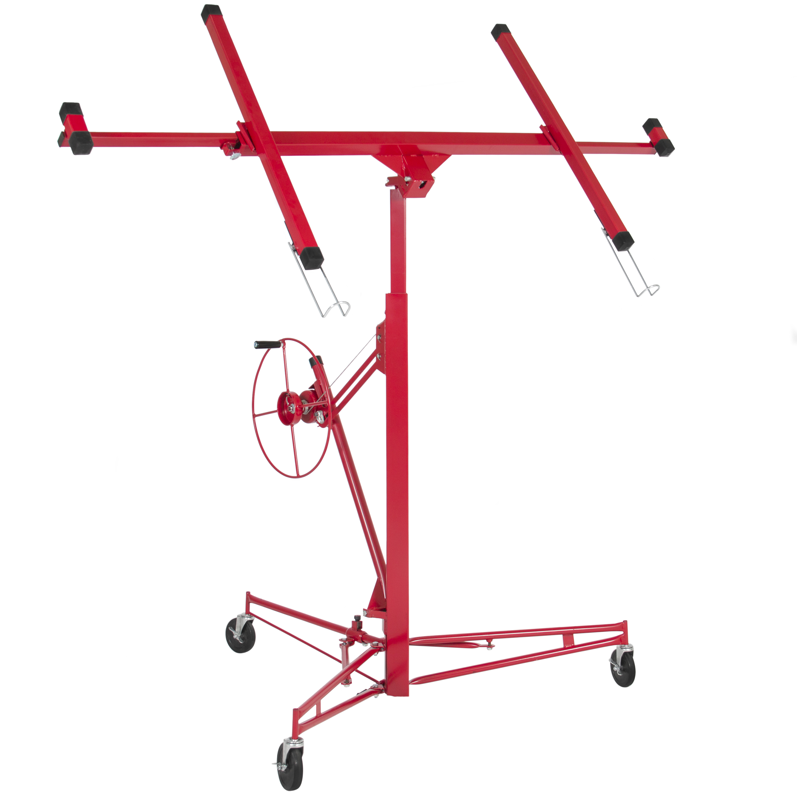 Best Choice Products 11ft Drywall Lift Panel HoistJack Lifter Construction Tool w/ Caster Wheels -Red