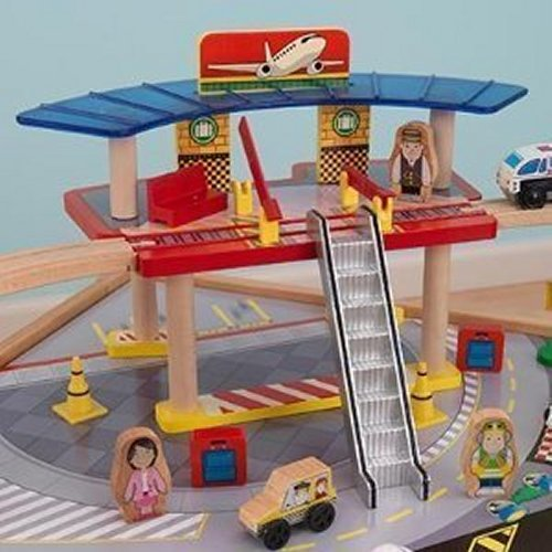 KidKraft Airport Express Wooden Play Kids Railway Train Activity Table U0026  Toy Set Image 5 Of