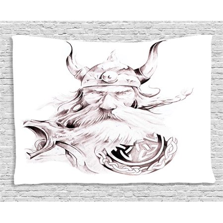 Tattoo Decor Tapestry, Head of Wolf the Fierce Warrior Big Dog of the Forest Winter Themed Image, Wall Hanging for Bedroom Living Room Dorm Decor, 60W X 40L Inches, White and Black, by Ambesonne ()