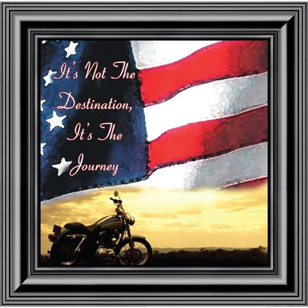 It's Not the Destination Flag and Sky Picture Frame, Classical Bike, 10x10 8552 - Flag Frames