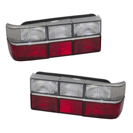 Pair Set Performance Type Taillights Tail Lamp Units w/ Clear & Red Lens Chrome Trim Replacement for Volvo 240 (Volvo Cornering Light)