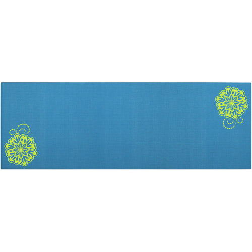 """Shock Athletic 6mm Yoga Mats. Teal Bloom, 24""""x68"""", 6mm thick, Protected with Microban, YM614"""