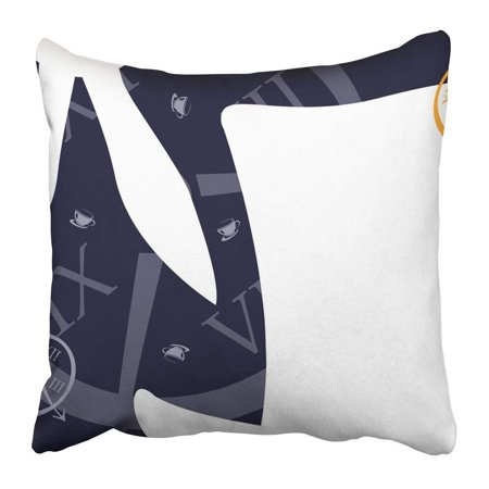 WOPOP White Wonderland Alice Hatter Mad Rabbit Party Clock Tea Pillowcase 20x20 inch (Clock Rabbit)