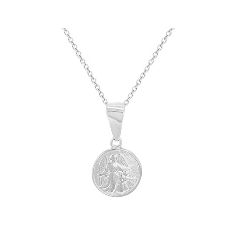 925 Sterling Silver Guardian Angel Little Medal Pendant Necklace Children 16