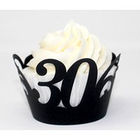 All About Details 30 Cupcake Wrappers,12pcs, 30th birthday decoration, 30th anniversary decoration (Black)