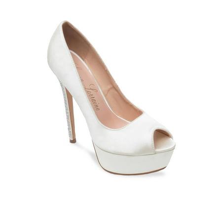 Lauren Lorraine Ivory Venus Peep-Toe Platform Pump Glitter Heel Bridal Shoes