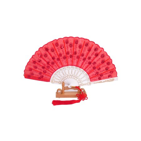 Unique Bargains Chinese Knot Sequins Decor Plastic Ribs Folding Hand Fan Bright Red w Wood Base](Folding Hand Fan)