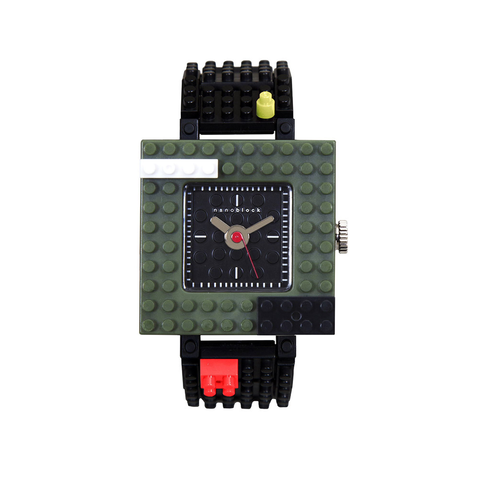 Nanoblocktime Nano Squared Watch, Army Green by Nanoblocktime