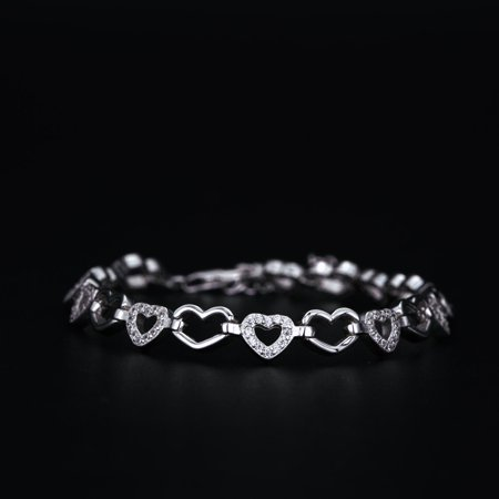 White Gold Heart Link (Stylish 1 Carat Round Cut Diamond Heart Shape Link Bracelet in 18k Gold Over Silver )