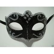 Black Silver Small Teen Ornate Masquerade Mardi Gras Costume Mask Prom Dance