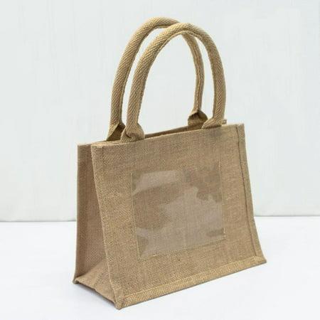 Rustic Mini Burlap Jute Bags - Wedding Party Favor Bags | TJ907 - Set of 6, Natural - Mini Burlap Bags