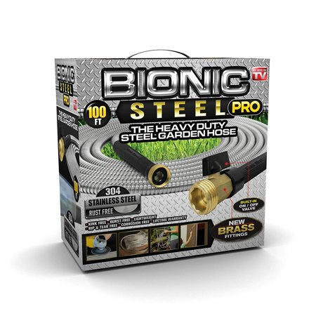 Bionic Steel PRO Garden Hose - 304 Stainless Steel Metal 100 Foot Garden Hose – Heavy Duty Lightweight, Kink-Free, and Stronger Than Ever with Brass Fittings and On/Off Valve – 2019 Model ()