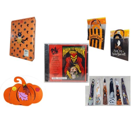 Halloween Fun Gift Bundle [5 Piece] -  Cat Pumpkin Push In 5 Piece Head Arms Legs -