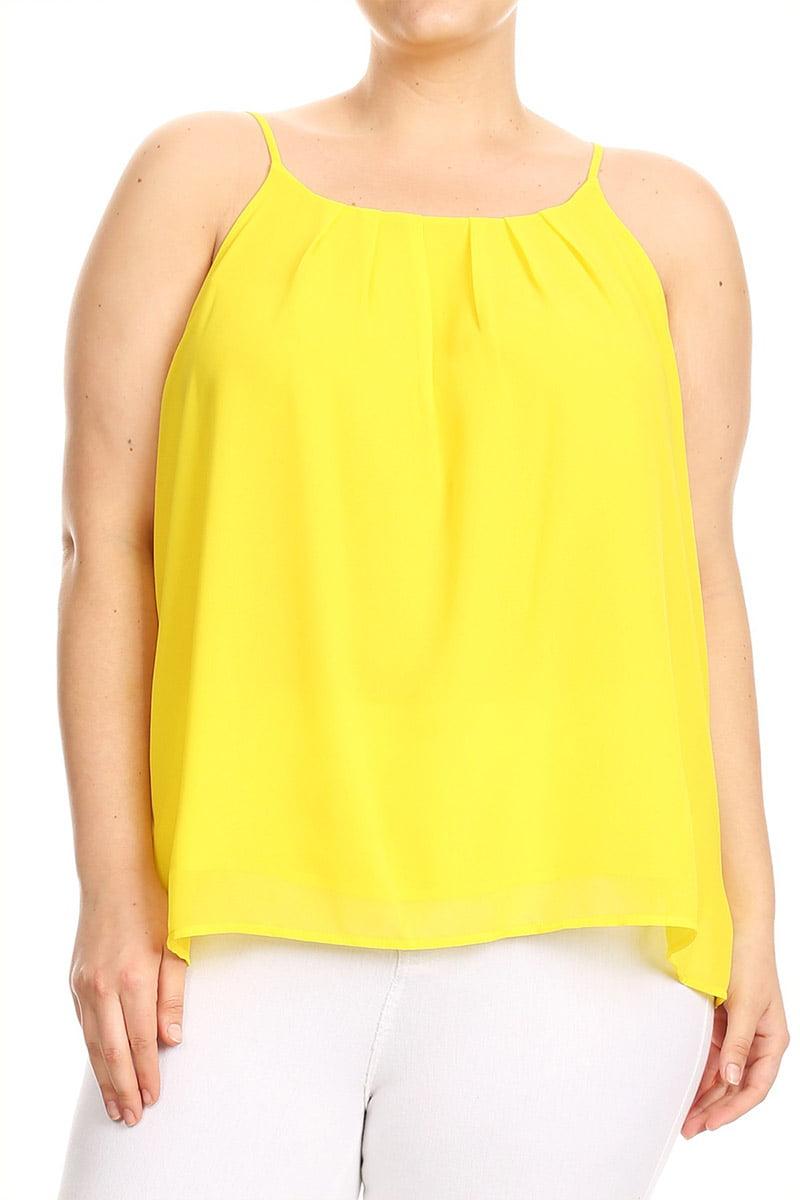Women's Plus Size Solid Chiffon Top