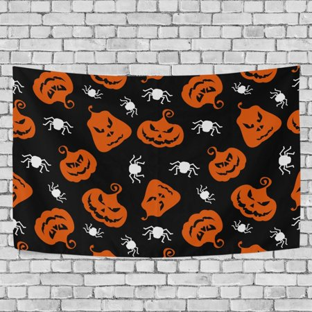 MYPOP Halloween Spider Pumpkin Tapestry Wall Hanging Decoration Home Decor Living Room Dorm 60x51 inches