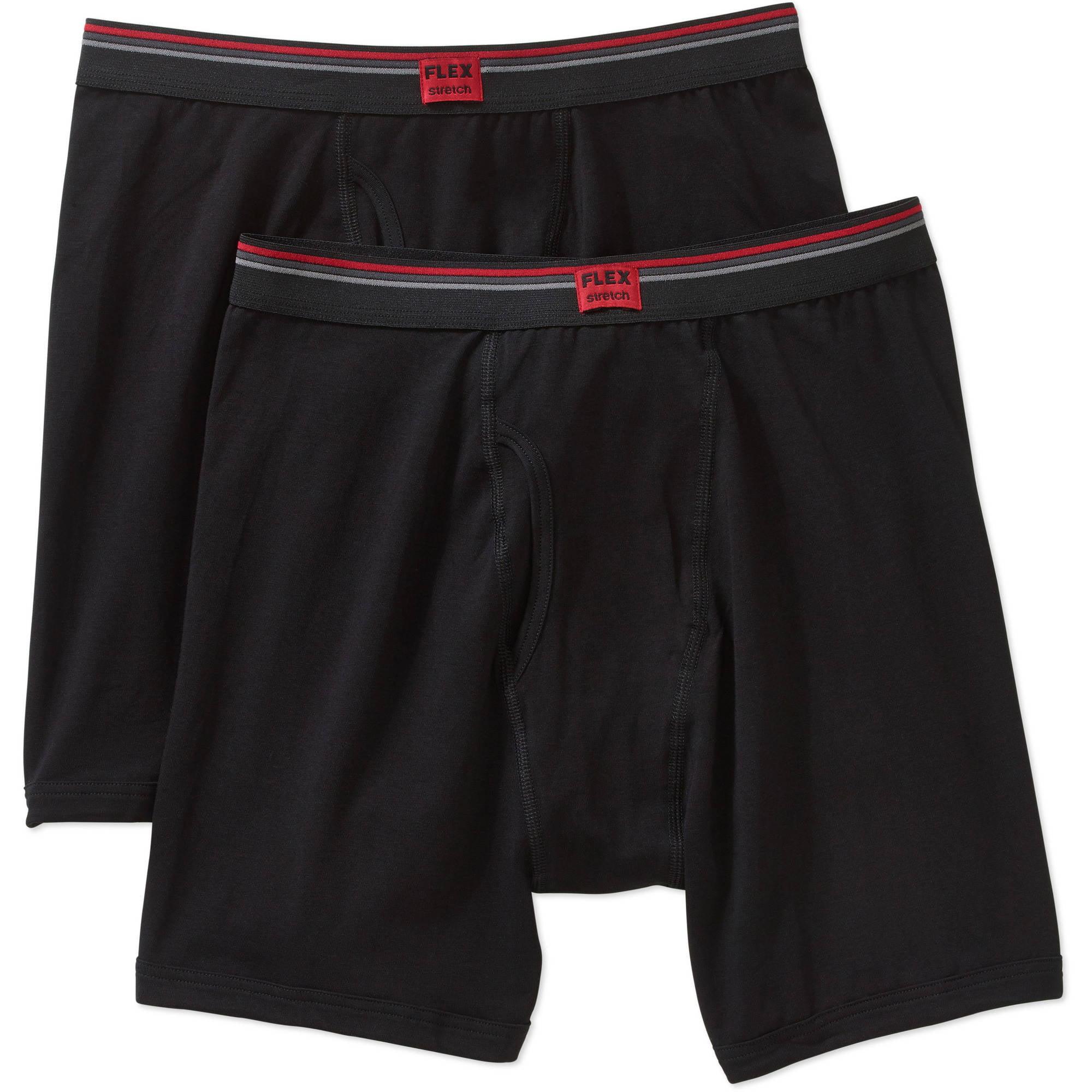 Life by Jockey Men's flex black cotton stretch long leg boxer brief, 2 pack by JOCKEY INTERNATIONAL INC