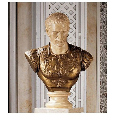 Museum Style Julius Caesar Sculptural Bust with Breast Plate - Statue