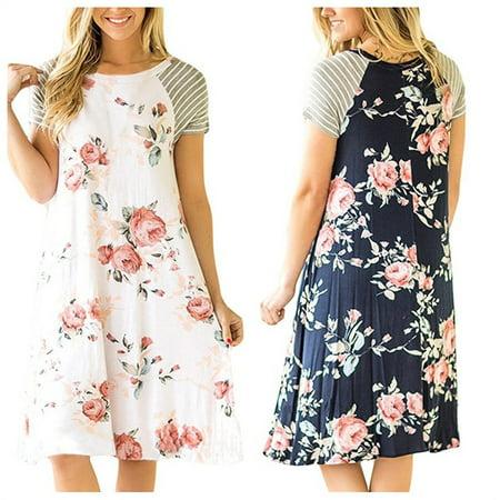 b71060a73f SANUCL - Women s Casual Floral Print T shirt Dress Crewneck Short Sleeve A-line  Loose Tunic Midi Boho Dresses for Summer Beach Party - Walmart.com