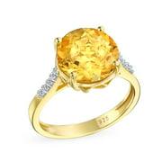 3CT Brilliant Solitaire Gemstone Zircon Yellow Citrine Topaz Ring for Women 14K Gold Plated Silver November Birthstone