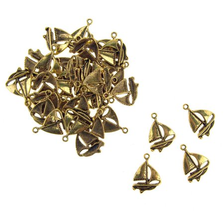 Metal Nautical Sailboat Charms, Gold, 5/8-Inch, 35-Count