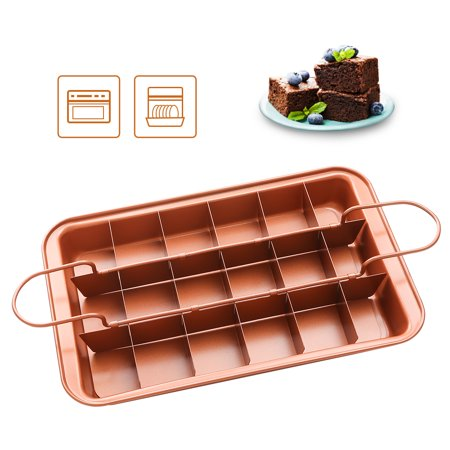 SHINEURI Copper Non Stick Brownie Pan with Dividers - Divided Brownie Pan, Bottom Serve, Kitchen Cake Baking Pan for Crispy Edges - 12.4 x 7.9 x 1.5 inch