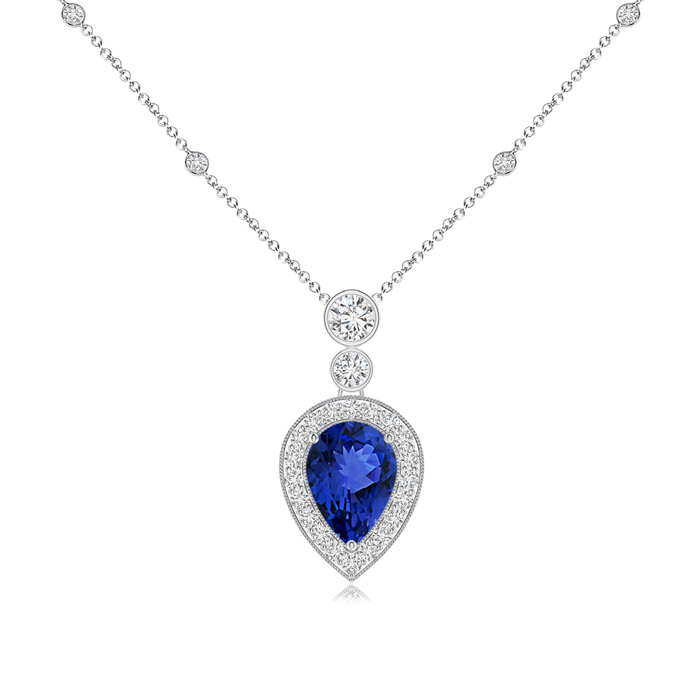 Mother's Day Jewelry Necklace Pear Shaped Tanzanite Necklace Pendant with Diamond Halo in 950 Platinum (7x5mm Tanzanite)... by Angara.com