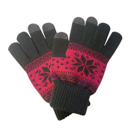 Boss Tech Knit Touchscreen Gloves with Conductive Fingertips for All Touchscreen Devices (Pink/Gray - Gloves With Lights On Fingertips