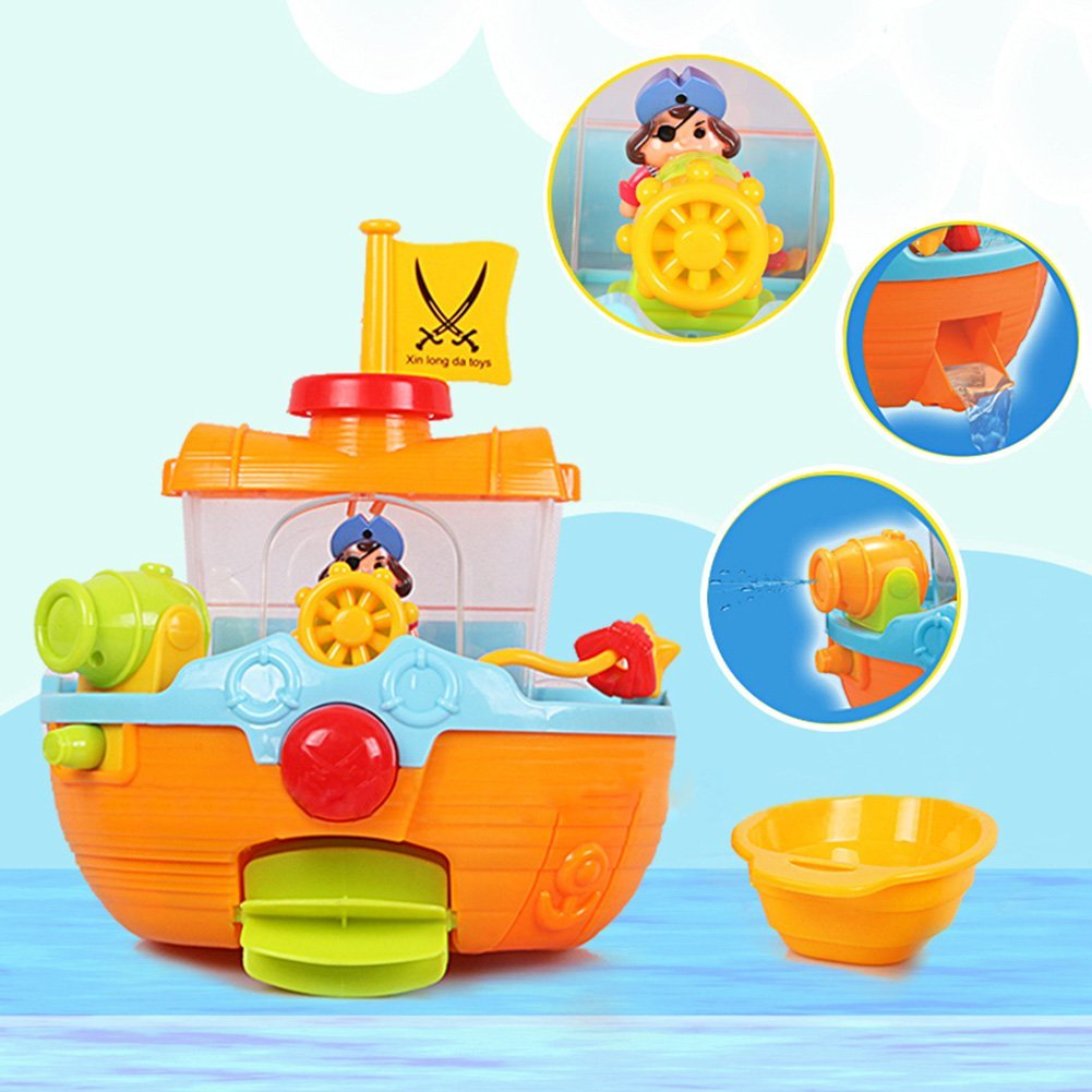Wall Mountable Pirate Ship Bathtub Bath Toy for Kids with Water ...