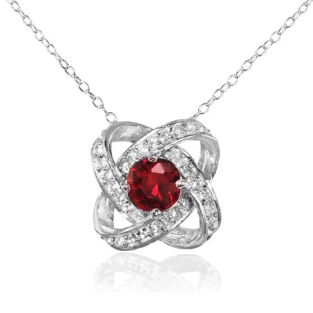 Created Ruby and White Topaz Sterling Silver Love Knot Necklace