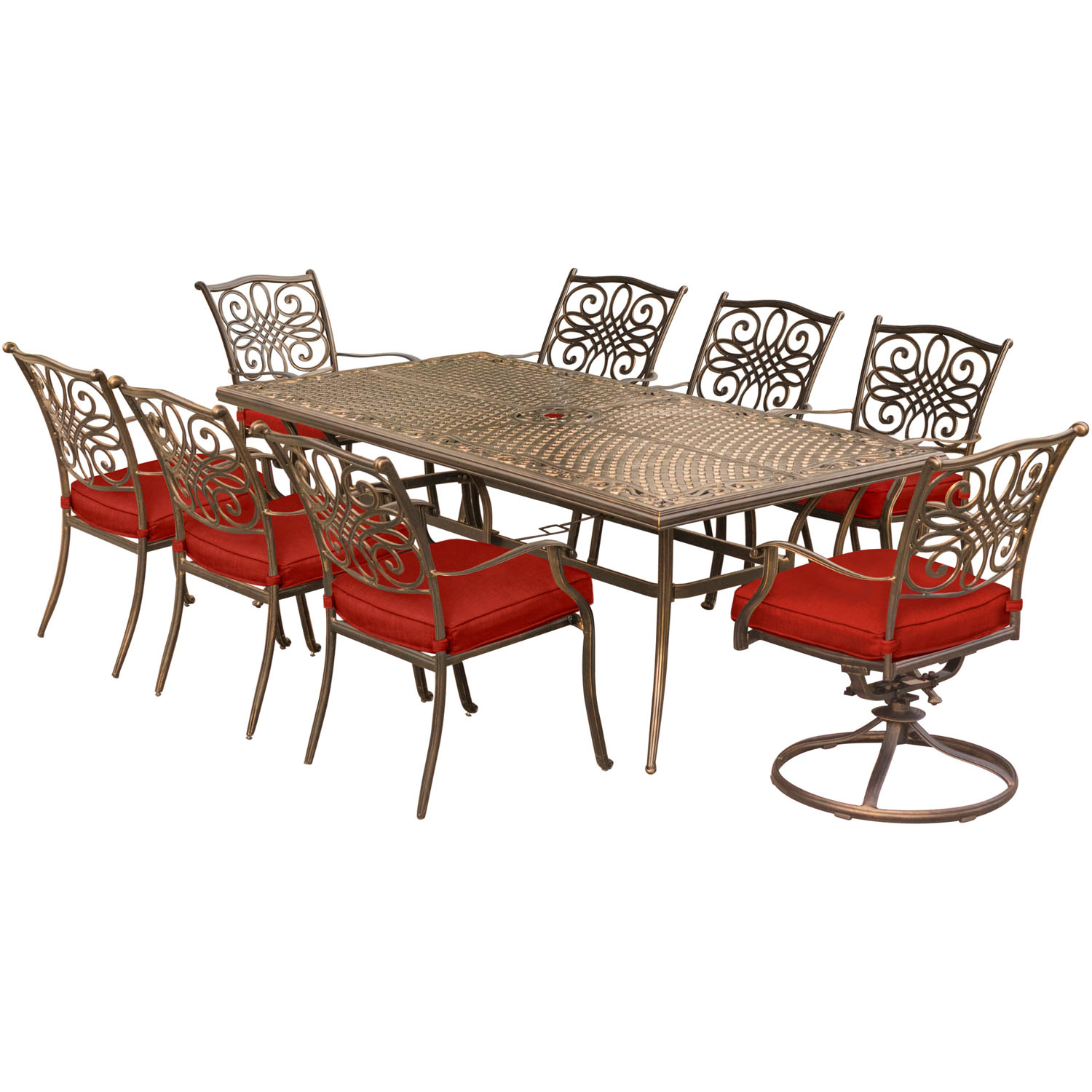 Hanover Traditions 9-Piece Outdoor Dining Set with Cast-Top Table, 2 Swivel Rockers and 6 Stationary Chairs