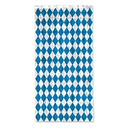 Pack of 6 Oktoberfest Blue and Silver Diamonds  Gleam 'N Fringed Curtain Party Decorations 8' for $<!---->