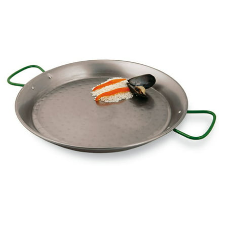 World Cuisine Stainless Steel Paella Pan - Paderno World Cuisine Paella Pan, Polished Carbon Steel, DIA 18 1/2