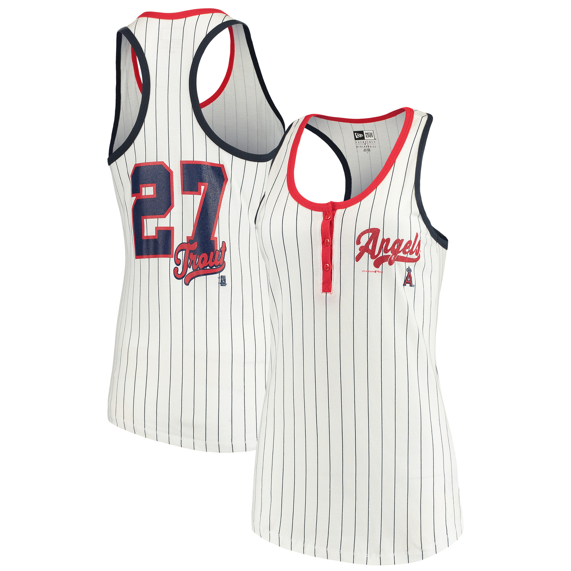 Mike Trout Los Angeles Angels 5th & Ocean by New Era Women's Pinstripe Player Tank Top - White