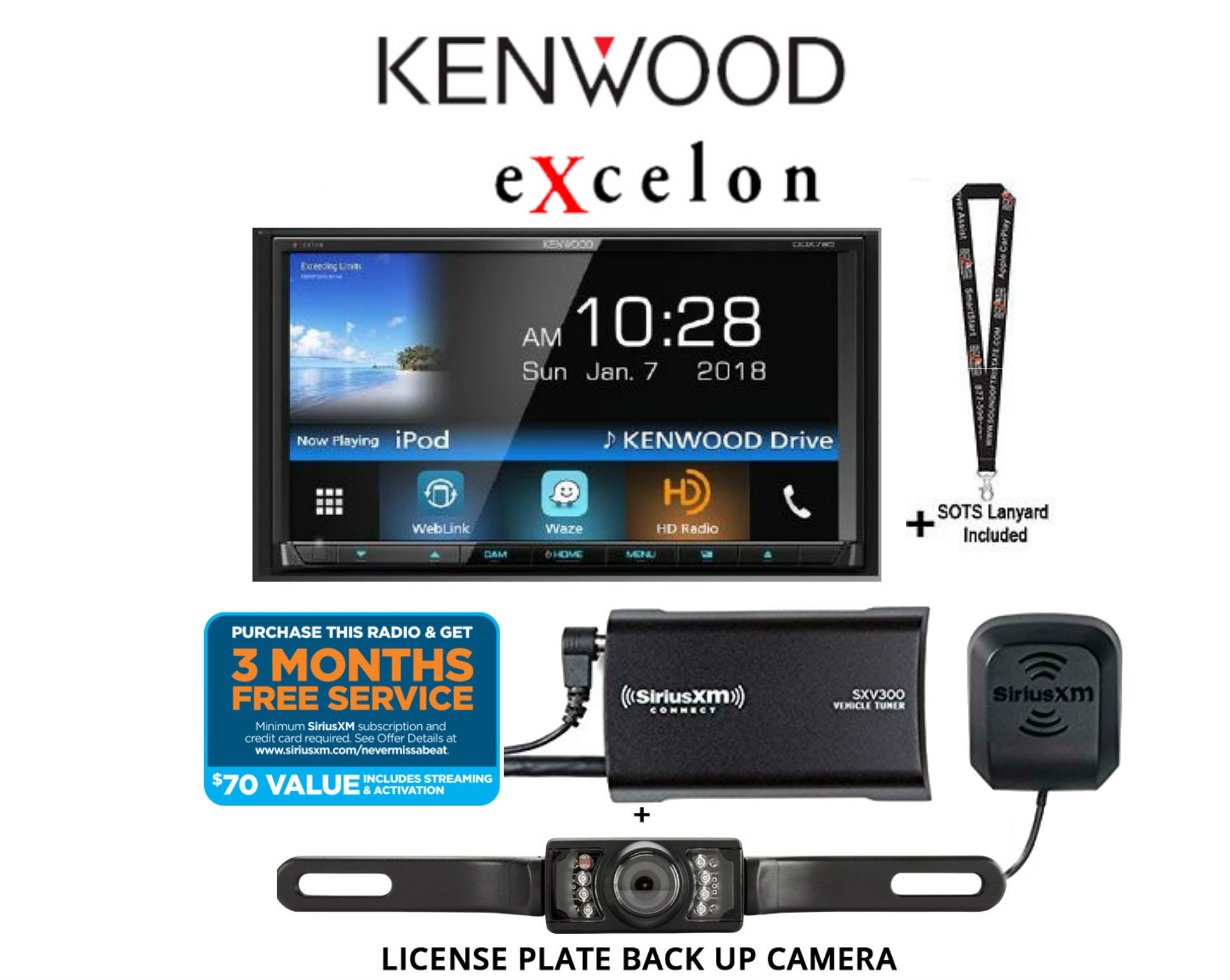 "Kenwood eXcelon DDX795 w  Sirius XM SXV300KV1 & License Plate Back Up Camera 6.95"" WVGA DVD Receiver w  Bluetooth &... by Kenwood"