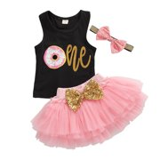 Princess Newborn Baby Girl Clothes Donuts Print Vest Tops Sequins Bow Tulle A-line Skirts Party First Birthday Outfit 0-24M