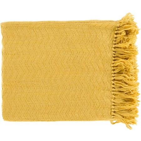 (Mustard Yellow Chevron Cotton Fringed Decorative Throw Blanket 50