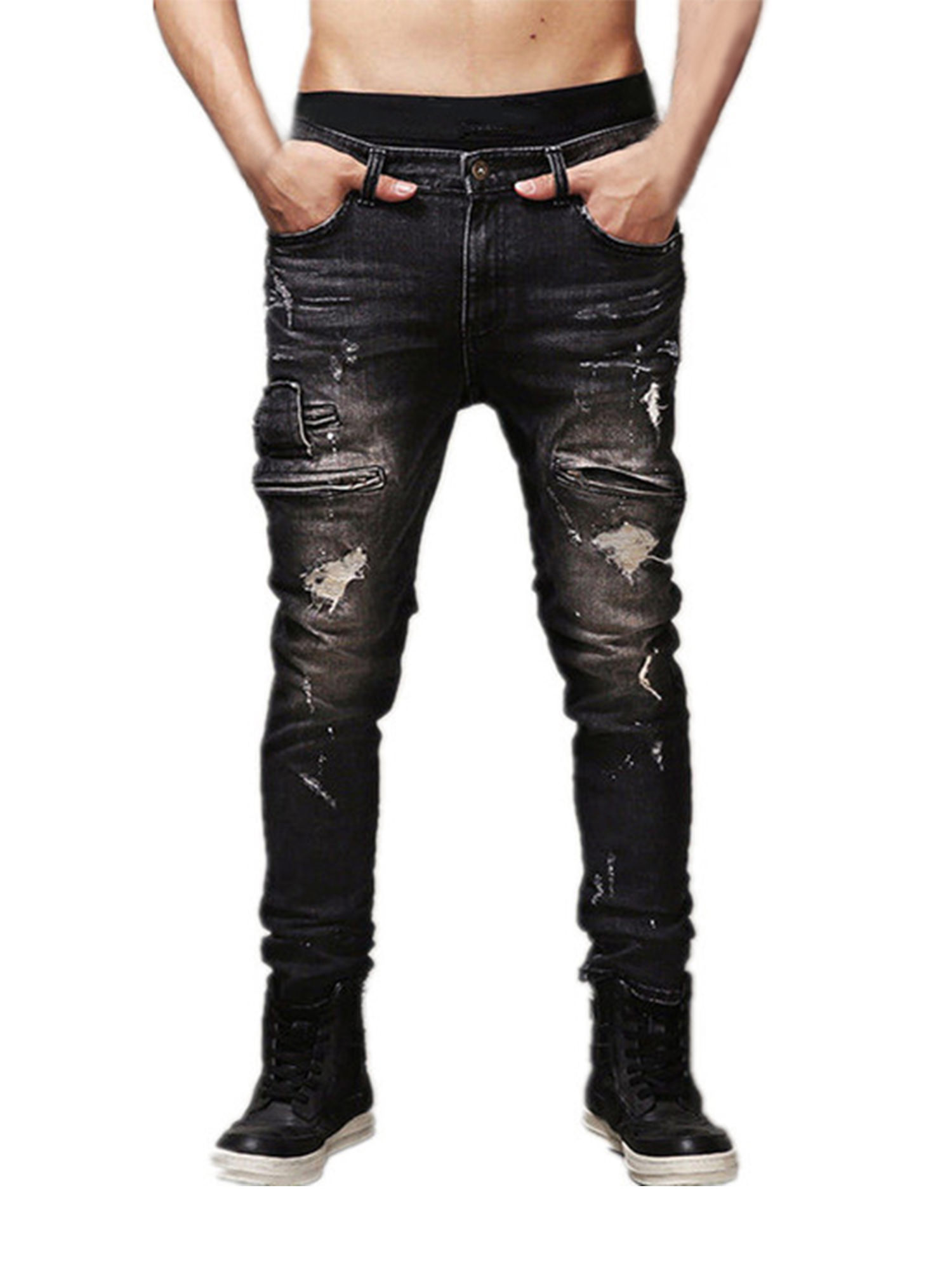 SportsX Mens Slim Fresh Trousers Denim Pants Distressed Curling Jeans