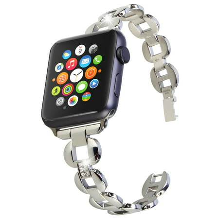 For Apple Watch Band Strap Stainless Steel Strap for Apple Watch Series 3 Series 2 Series 1 Moretek Apple Watch Band 42mm Stainless Steel Diamond Chain Replacement Strap Wrist Straps Bracelet Buckle Clasp for Apple Watch Bands Series 1 & 2 & 3 , Sport, Edition All Models