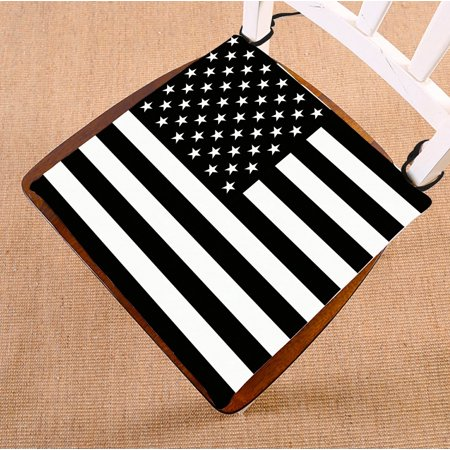 PHFZK Flag Chair Pad, American Flag Black and White Seat Cushion Chair Cushion Floor Cushion Two Sides Size 16x16 inches ()