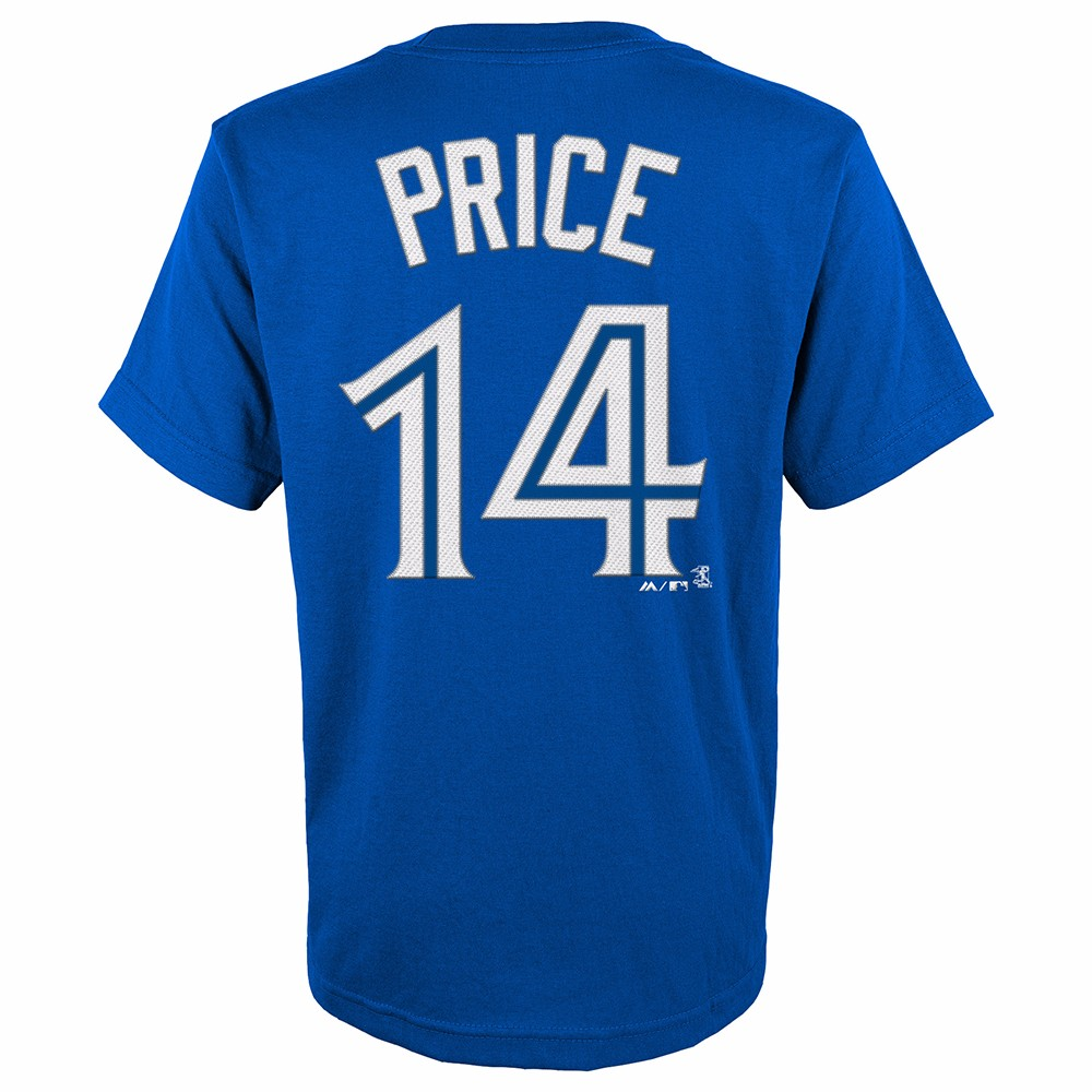 David Price Toronto Blue Jays MLB Majestic Youth's Blue Player Name & Number Jersey T-Shirt