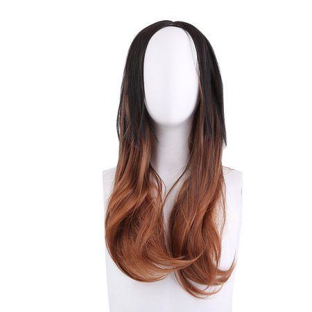 Women Long Wavy Curly Hair Wig Black Brown Ombre High-Temperature Fiber Hair
