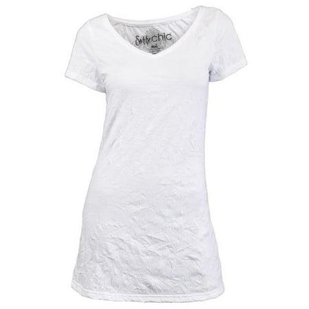 Chic 5108VC100SML Tee-shirt en polaire avec maillot en coton Juniors, blanc - Petit - image 1 de 1
