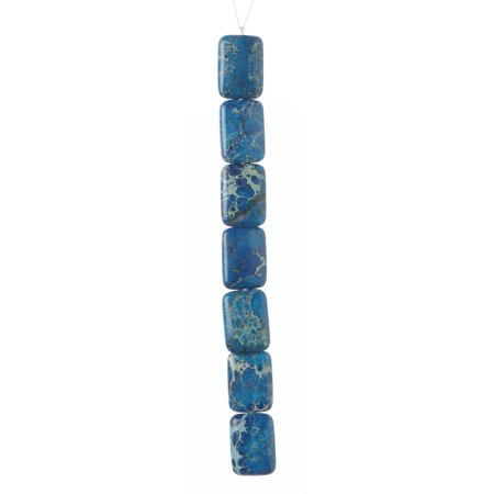 - Imperial Jasper Bead Strand: Rectangle, Blue, 18 x 25 mm