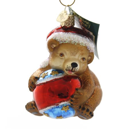 Cubs Christmas Ornament (Old World Christmas PLAYFUL CUB Glass Ornament Teddy Bear 12533.)
