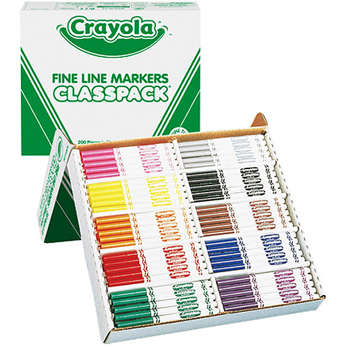 Crayola 200-Count Fineline Marker Classpack, Includes 10 Vibrant Colors for Easy to Outline and Detail Work