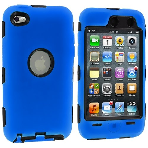 Dual Flex Hard Hybrid Gel Case for  iPod Touch 4th Gen - Blue/Black
