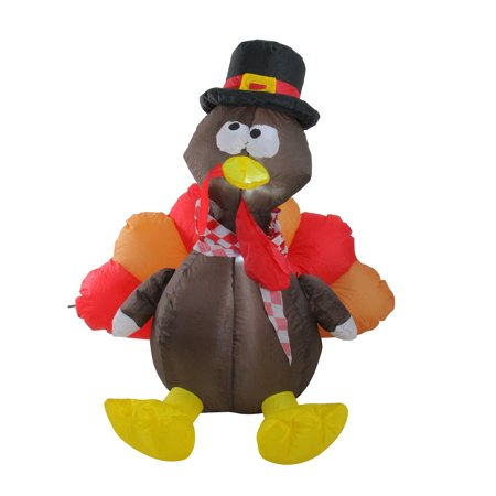 4' Inflatable Lighted Thanksgiving Turkey Outdoor - Thanksgiving Inflatable Decorations