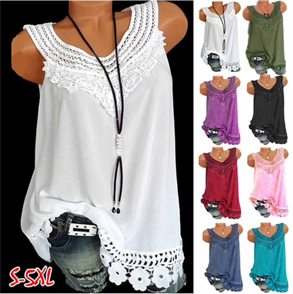 Summer Women Shirt Vest Fashion O-Neck Sleeveless Solid Colors Tank Tops Plus size S-5XL