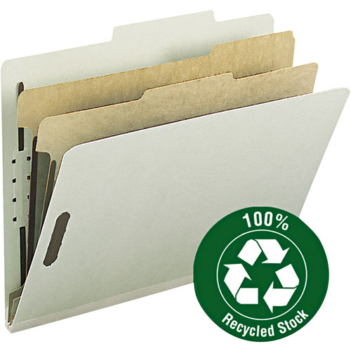 "Smead 100 Percent Recycled Pressboard Letter Size Classification Folders, 2"" Expansion and 2 Dividers, Box of 10, Gray / Green"